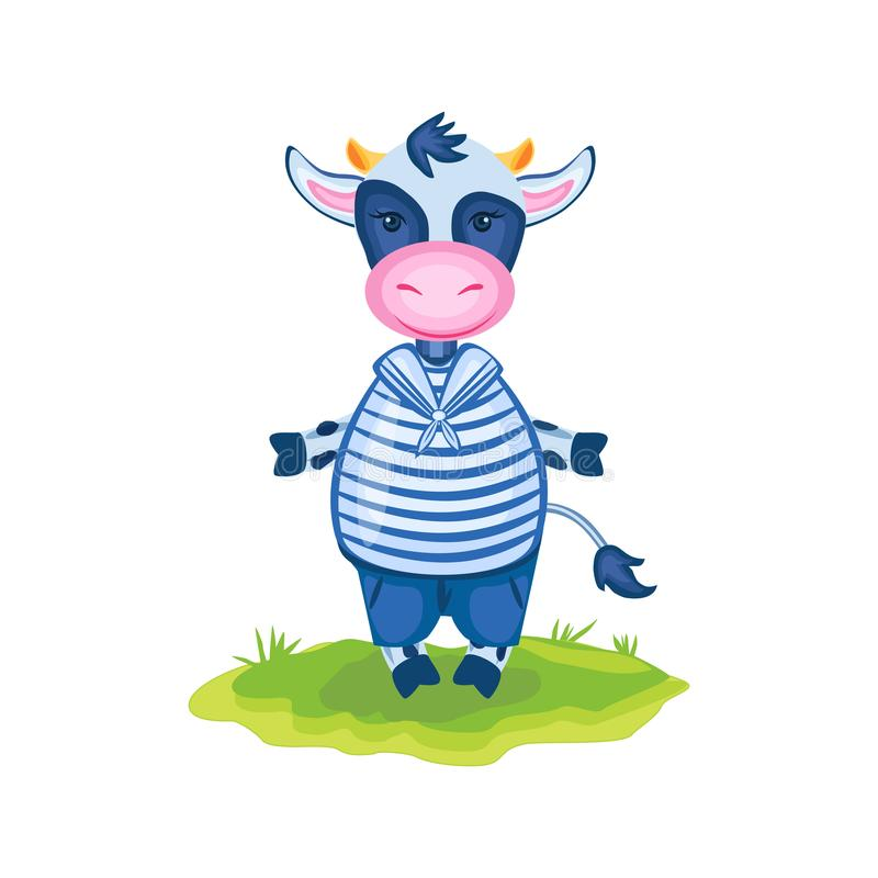 Cartoon calf vector kids farmer animal, domestic cute cow in sea costume standing in green grass isolated, Character stock illustration