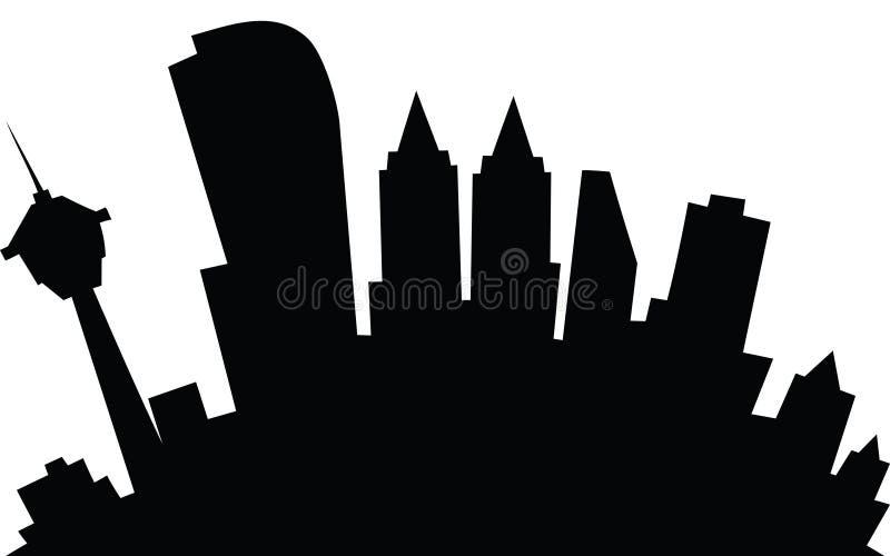 Cartoon Calgary. Cartoon skyline silhouette of the city of Calgary, Alberta, Canada stock illustration