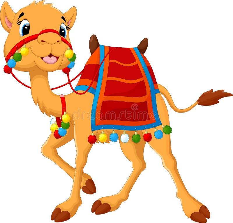 Cartoon camel with saddlery royalty free illustration