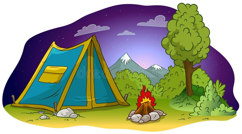 Cartoon camping tent and campfire on grass lawn. Cartoon blue camping tent with pocket and campfire on grass lawn at night. Big tree, brush and mountains. Vector stock illustration