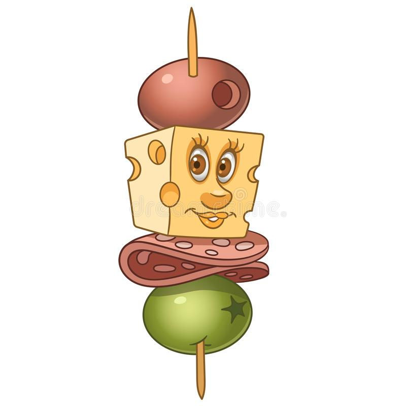 Cartoon canape with salami and cheese stock illustration