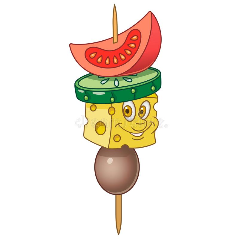 Cartoon canape with vegetables vector illustration