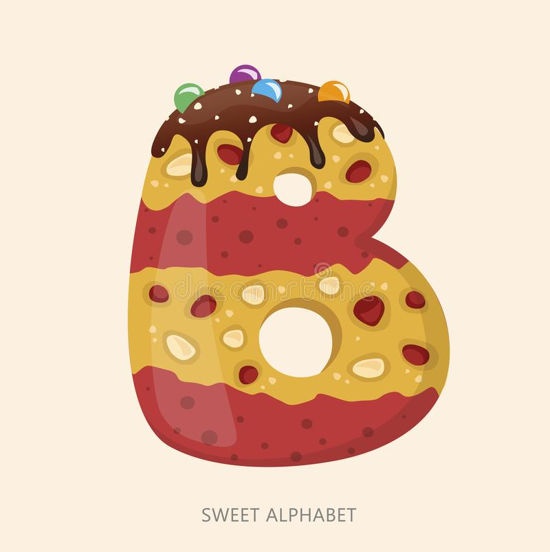 Cartoon candy alphabet. Letter B. Vector illustration, isolated on white background royalty free illustration