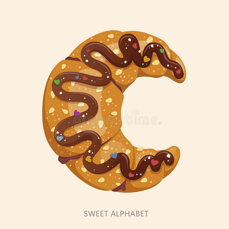 Cartoon candy alphabet. Letter C. Vector illustration, isolated on white background vector illustration