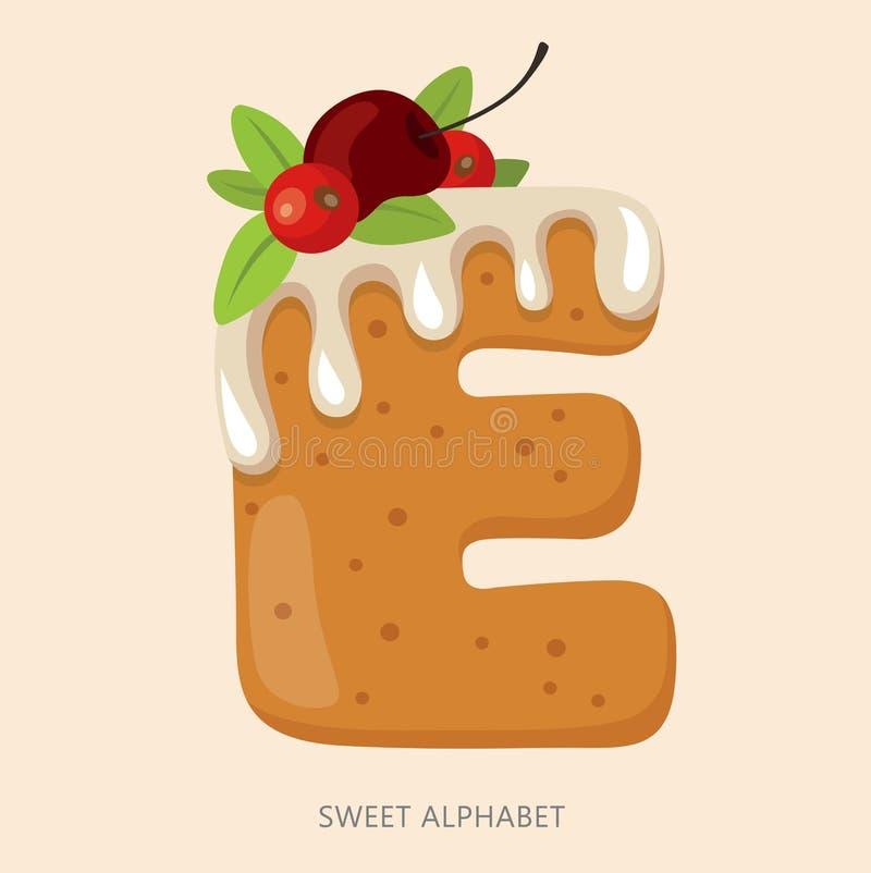 Cartoon candy alphabet. Letter E.  illustration, isolated on white background royalty free illustration