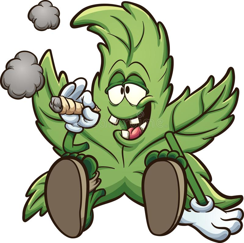 Free Cartoon Cannabis Plant Character Smoking A Marihuana Joint Royalty Free Stock Images - 155859339