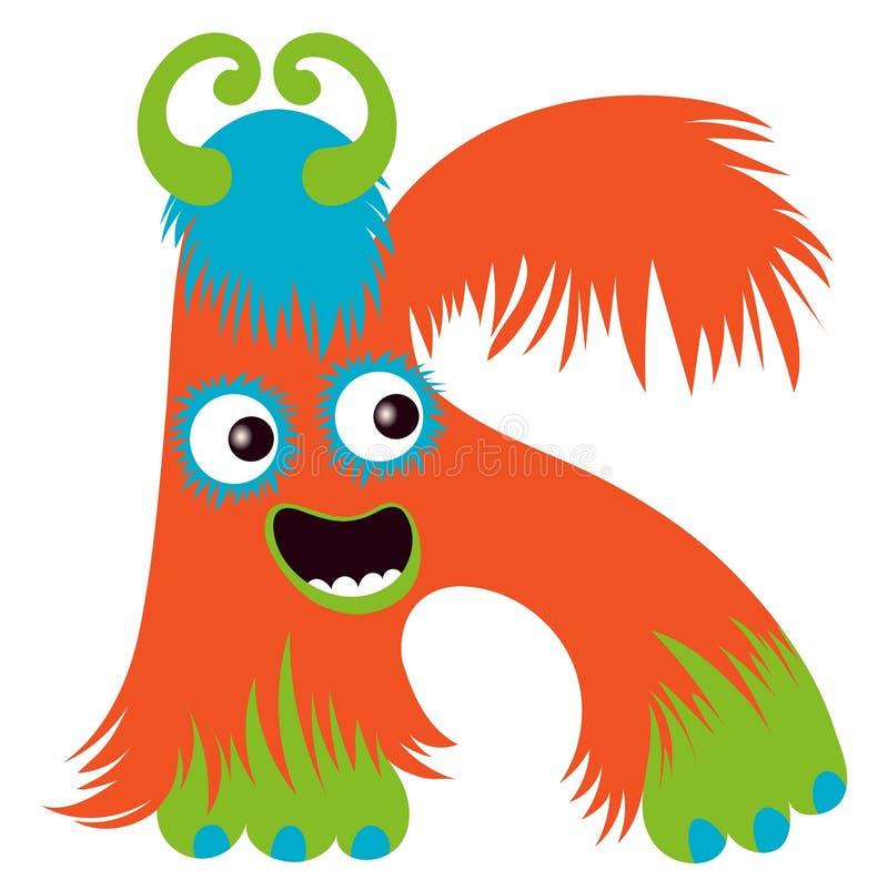 Cartoon capital letter k from monster alphabet stock illustration