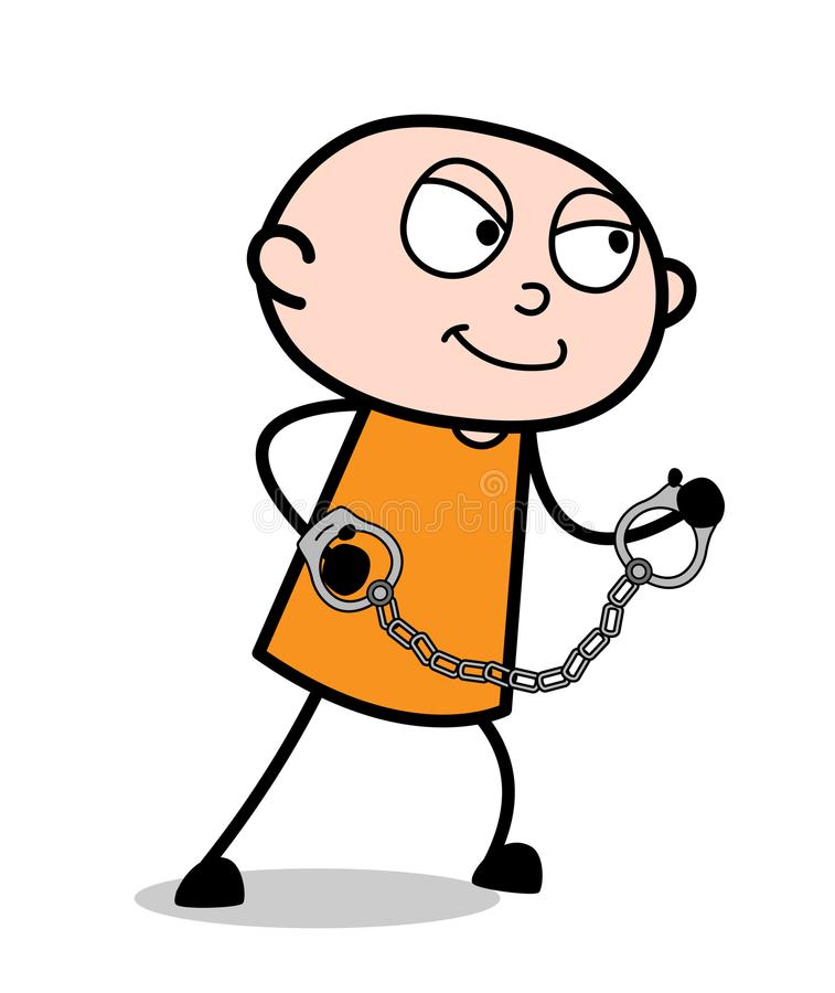 Cartoon Captive Trying to Escape. Vector royalty free illustration