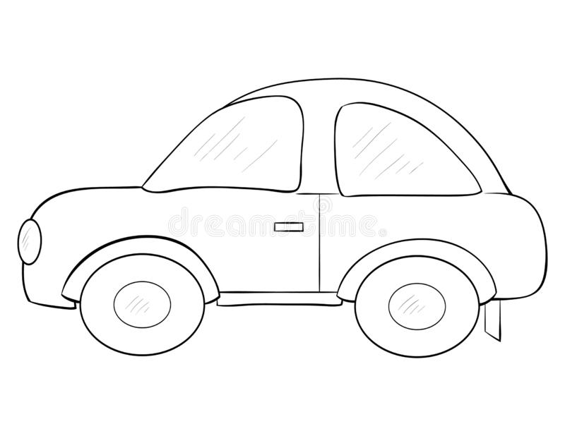 A coloring page,book a cartoon car image for children.Line art style illustration. A cartoon car image for children,line art style illustration for relaxing and vector illustration