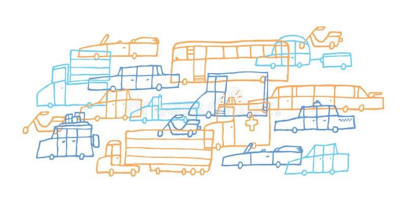 Cartoon car jam / Tough traffic royalty free illustration