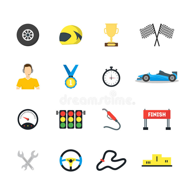 Cartoon Car Racing Symbol Color Icons Set. Vector royalty free illustration