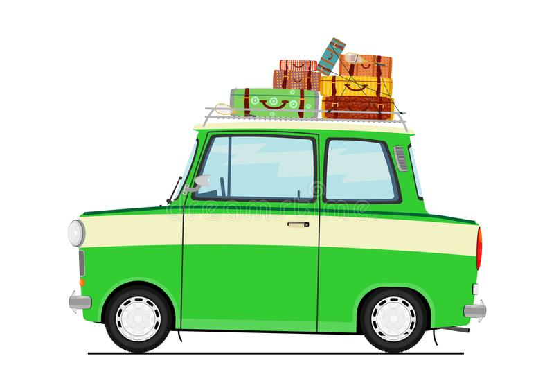 Cartoon car with suitcases. stock illustration