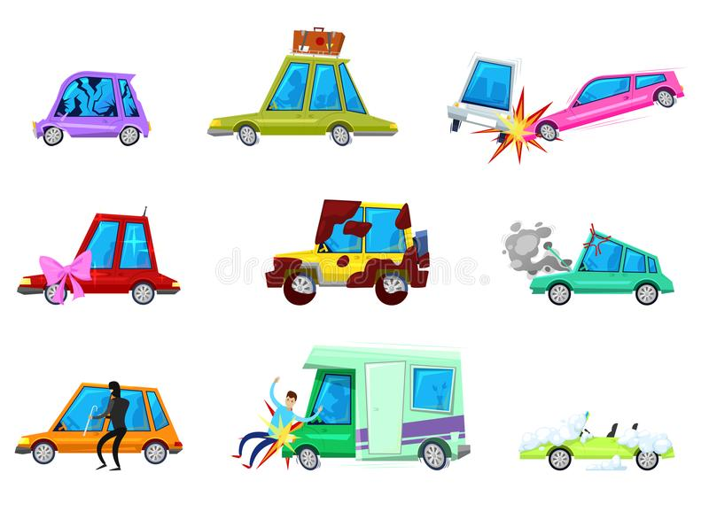 Cartoon car vector comic minicar and broken vehicle after auto accident or automobile crash and transport collision of vector illustration