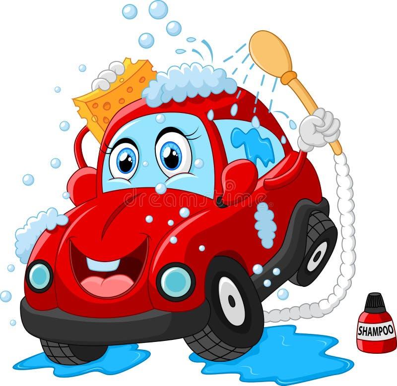 Cartoon car wash character vector illustration
