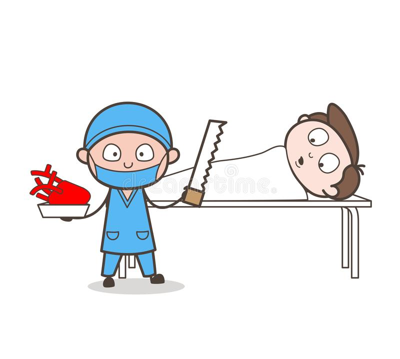 Cartoon Cardiologist Doing Heart Surgery Vector Concept stock illustration