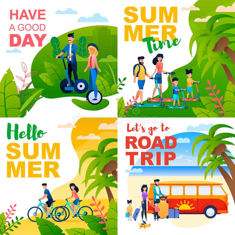 Cartoon Cards Set with Summer Motivate Quotes stock illustration