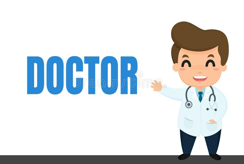 Cartoon career. Doctor cartoon in uniform Visiting patients and explaining medical knowledge vector illustration