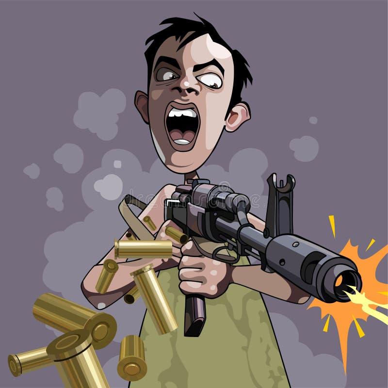 Cartoon caricature of an emotional man fires a gun. Cartoon caricature of an emotional man fires gun royalty free illustration