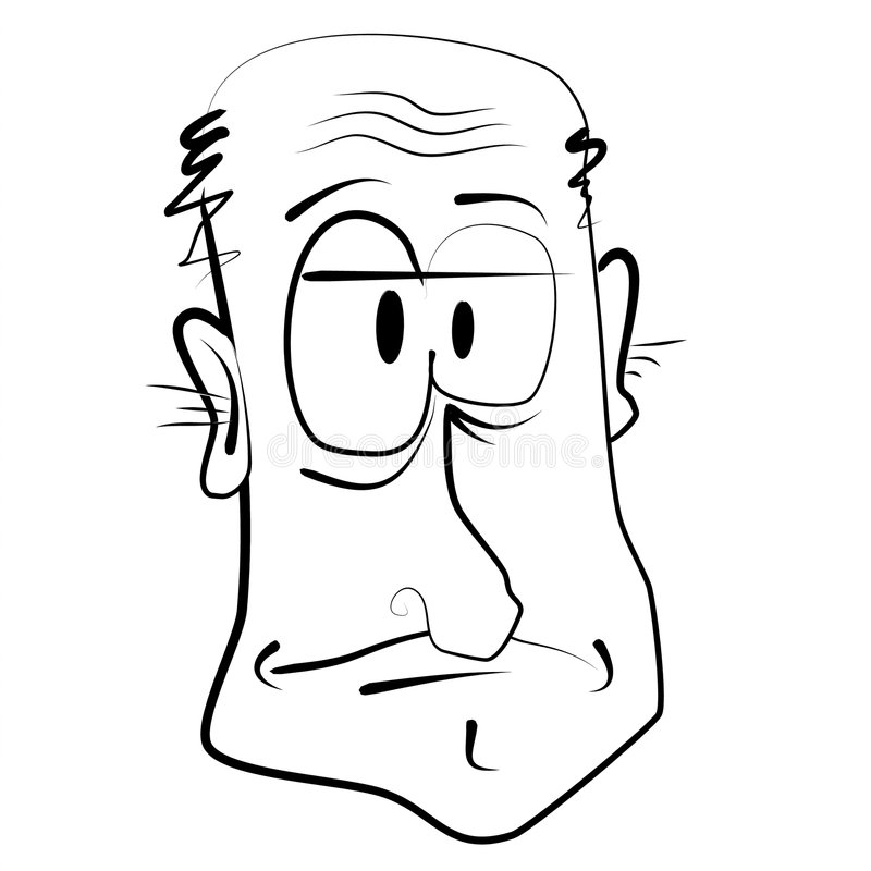 Cartoon Caricature of Old Man. A cartoon caricature illustration in black and white line art of an old grumpy man stock illustration