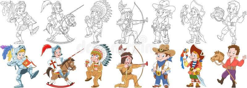Cartoon carnival costumes set royalty free illustration