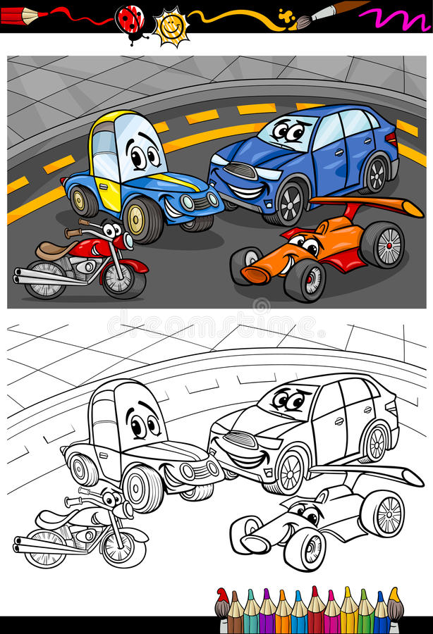 Cartoon cars for coloring book stock illustration