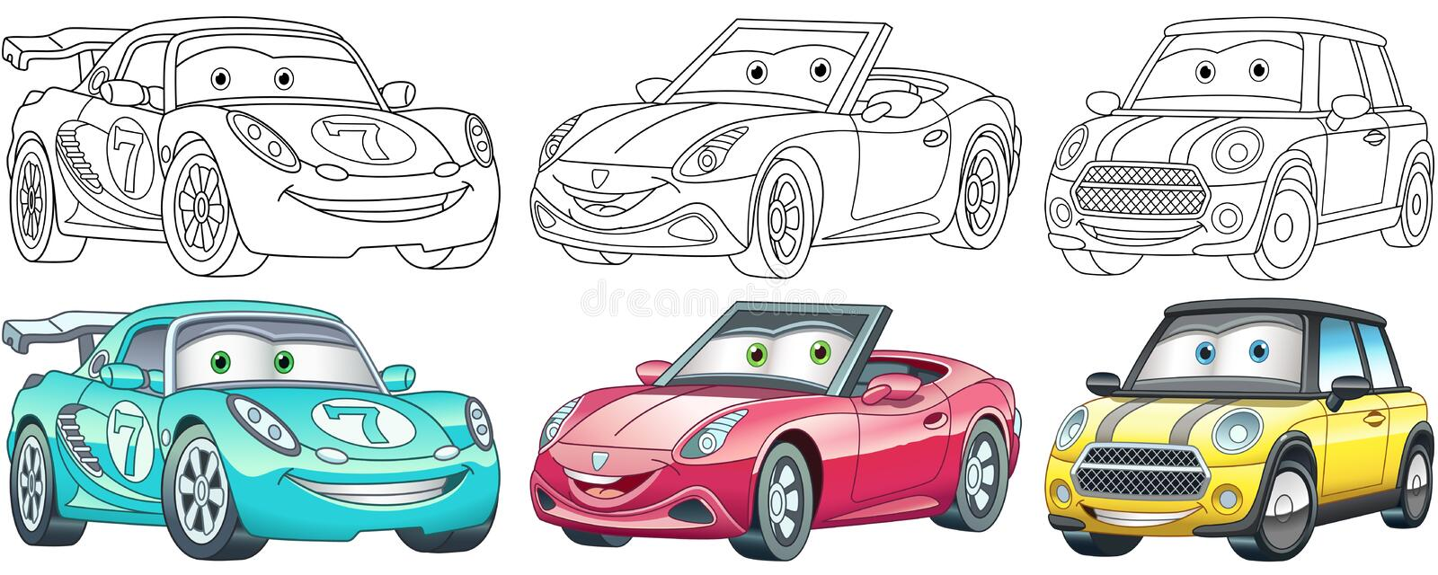 Cartoon Cars Coloring Pages Set Stock Vector - Illustration Of Book, Icon:  184754109
