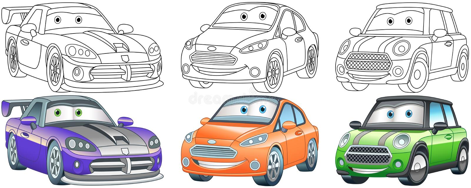 Cartoon Cars Coloring Pages Set Stock Vector Illustration Of Book Character 184754148