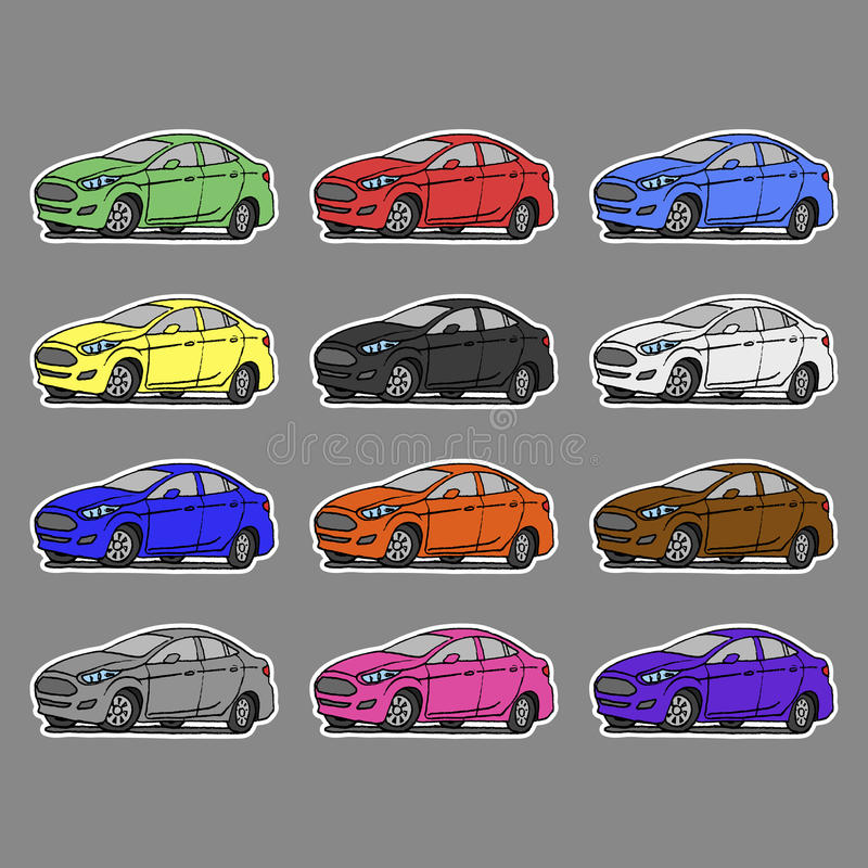 Download cartoon cars sticker for boys vector illustration for scrapbook transportation doodle background