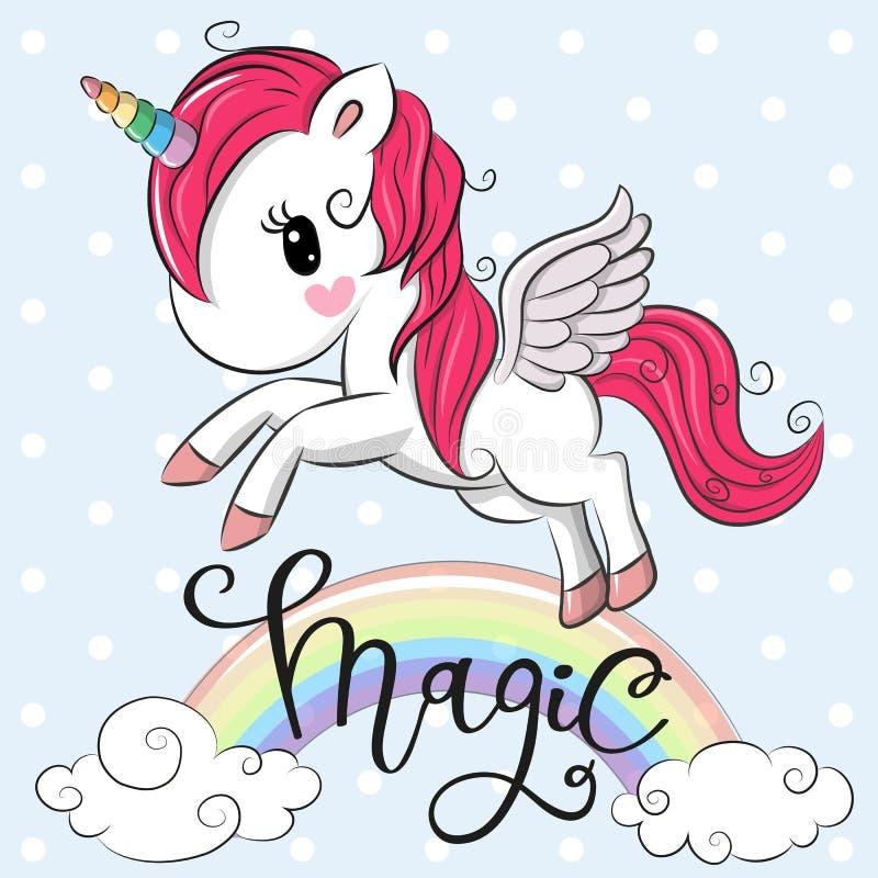 Cartoon Unicorn is flying under the rainbow vector illustration
