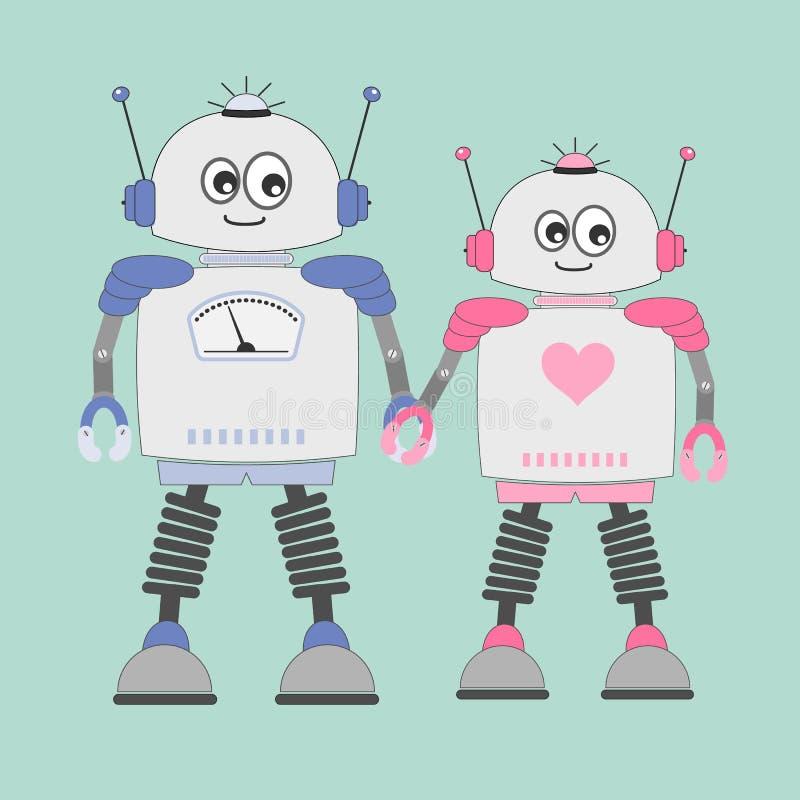 Cartoon Casal robôs garoto e garota apaixonada ilustração stock