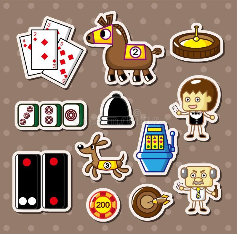Cartoon casino stickers stock illustration