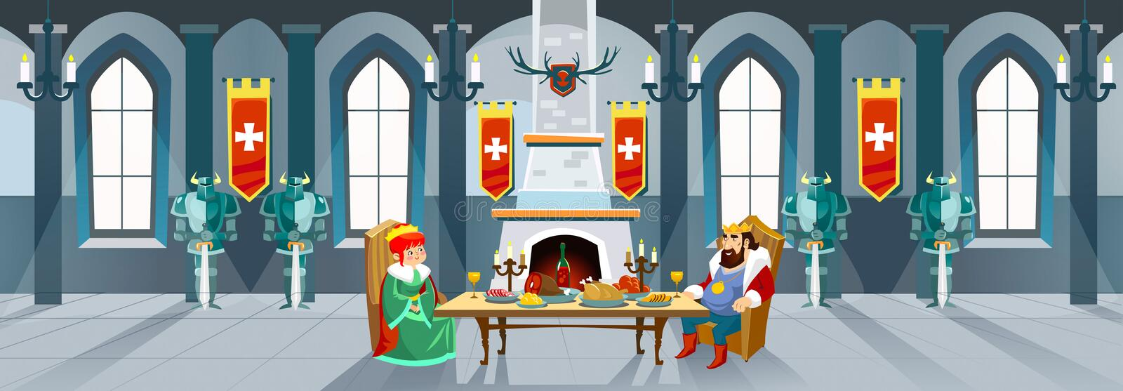 Cartoon castle hall with king and queen. Royal dinner in front o vector illustration