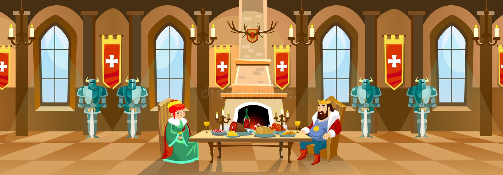 Cartoon castle hall with king and queen. Royal dinner in front o stock illustration