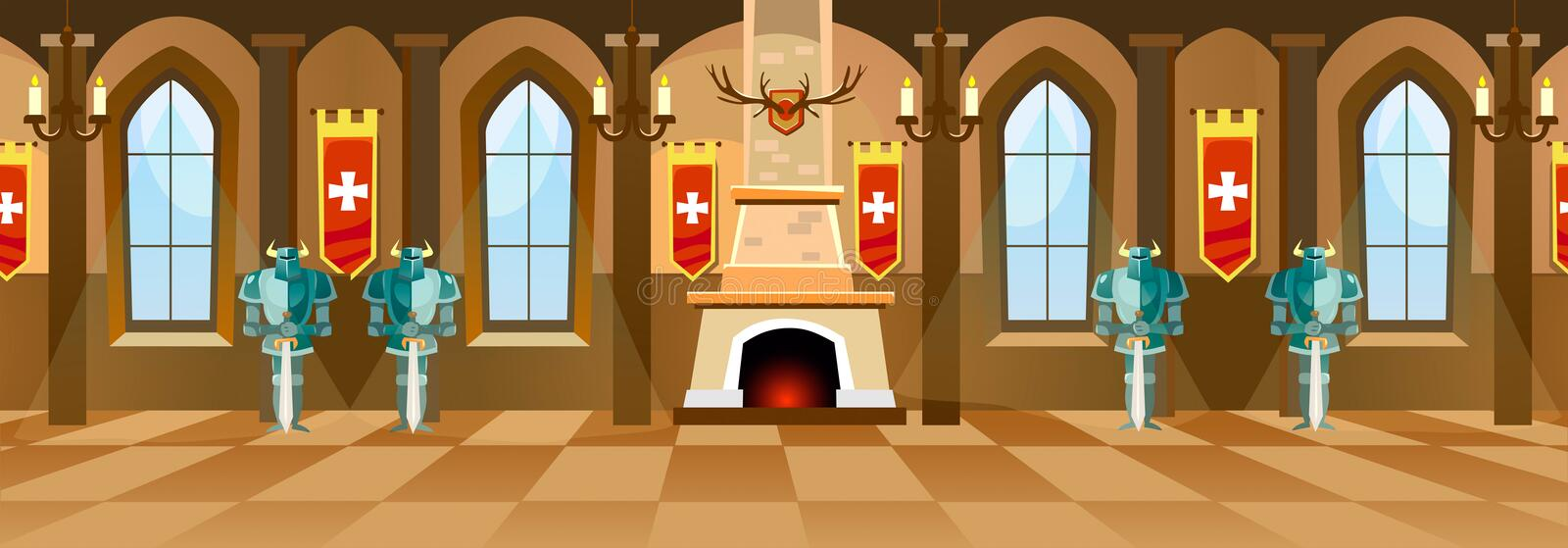 Cartoon castle hall with knights, fireplace and windows in big r. Oom. Vector illustration royalty free illustration