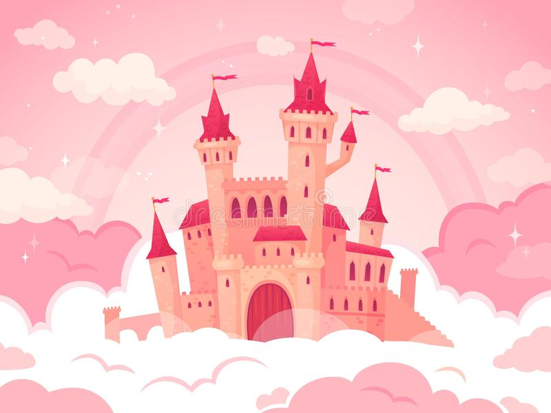 Cartoon castle in pink clouds. Magic land, fairytale cloud and fabulous sky. Fairy castle for little princess vector royalty free illustration