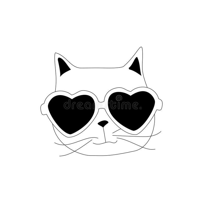 Cartoon cat animal. Line art silhouette drawing. Vector illustration doodle concept eps10 royalty free illustration