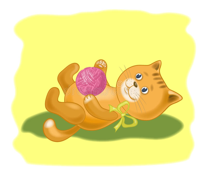 Download Cartoon Cat With A Ball Of Wool Yarn Stock Vector - Image: 32566267