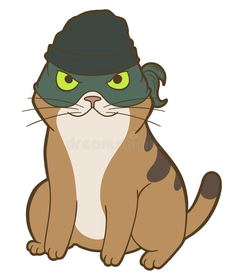 Cartoon cat bandit. Cartoon cat in mask and knitted hat isolated on white background vector illustration
