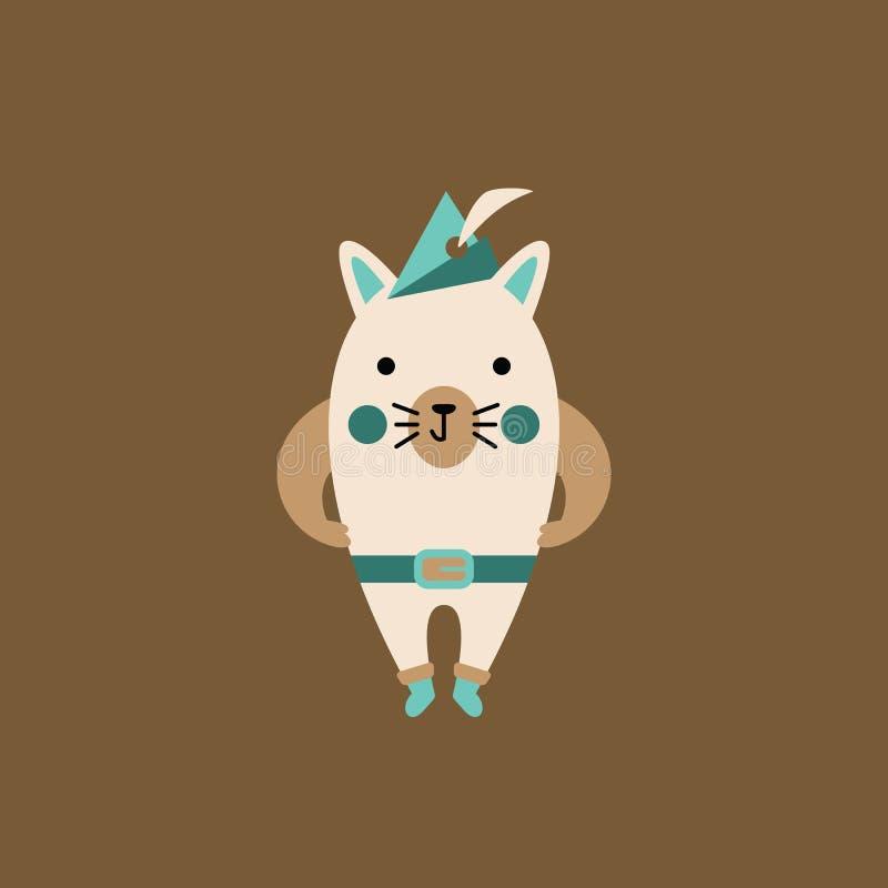 Cartoon cat character with cap royalty free stock photos
