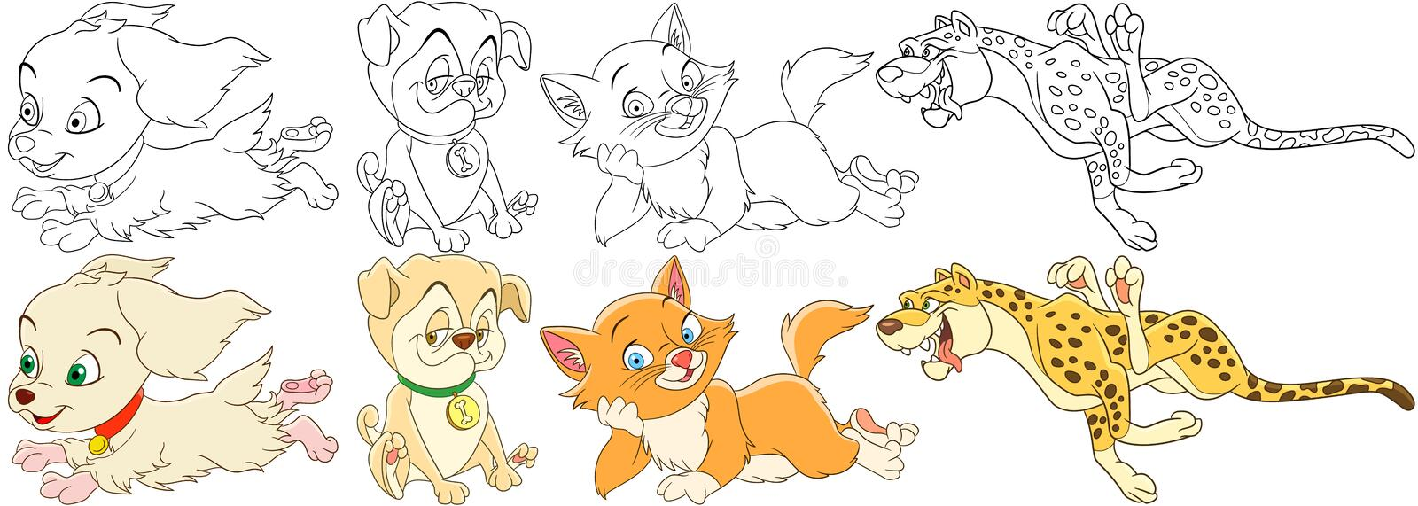 Cartoon cat dog set stock images