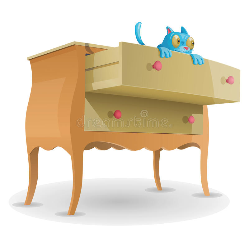 Cartoon Cat In Drawer. Drawers with open drawer and cat stock illustration