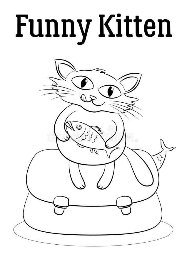 Cartoon Cat with Fish. Funny Cartoon Cat Keeps the Fish in its Paws and Sits on a Bag Full of Fish, Black Contours Isolated on White Background. Vector vector illustration