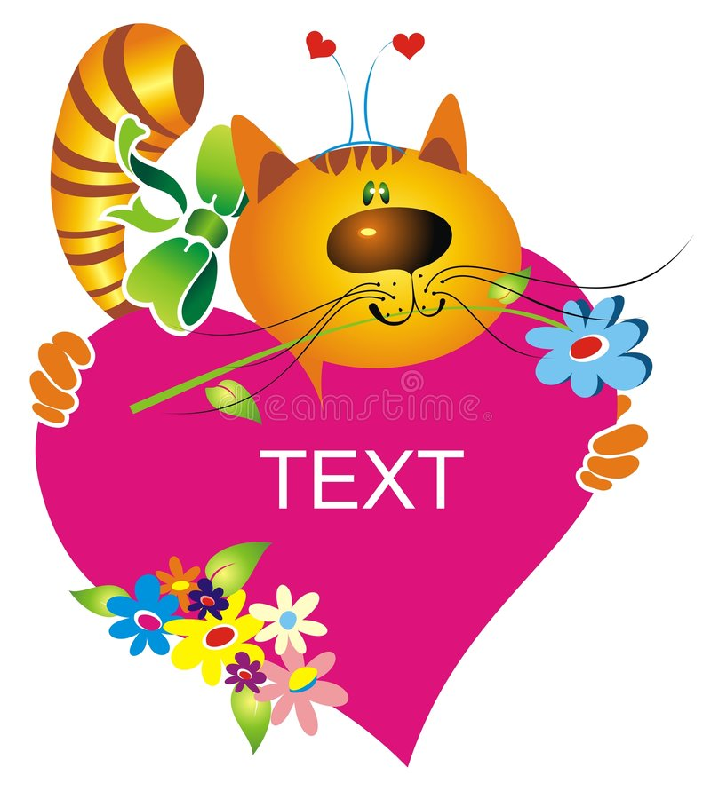 Download Cartoon Cat And Heart Stock Photography - Image: 7737872