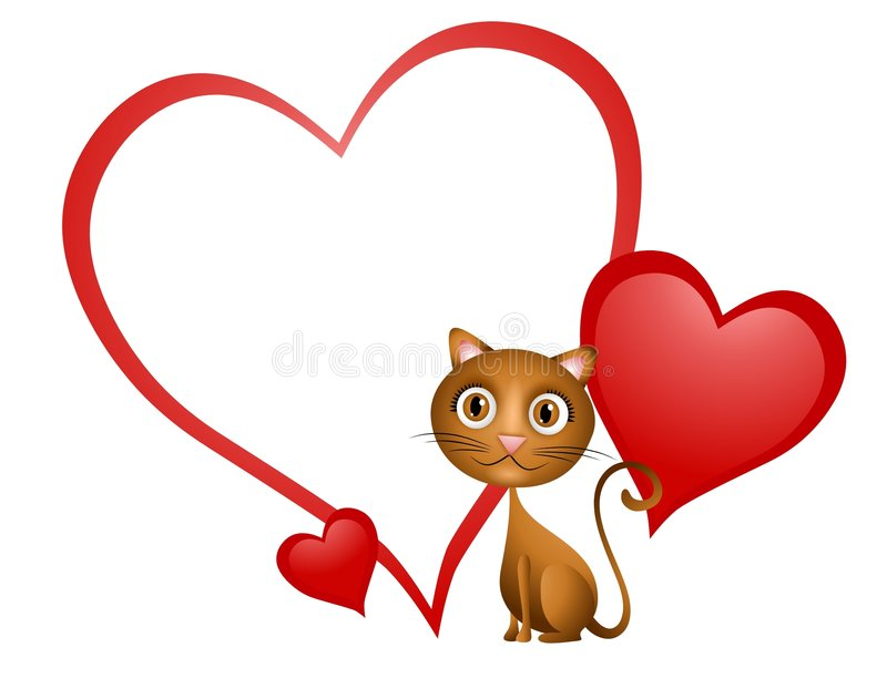 Cartoon Cat Heart Valentine. An illustration featuring a cartoonish cat smiling in front of blank heart valentine stock illustration