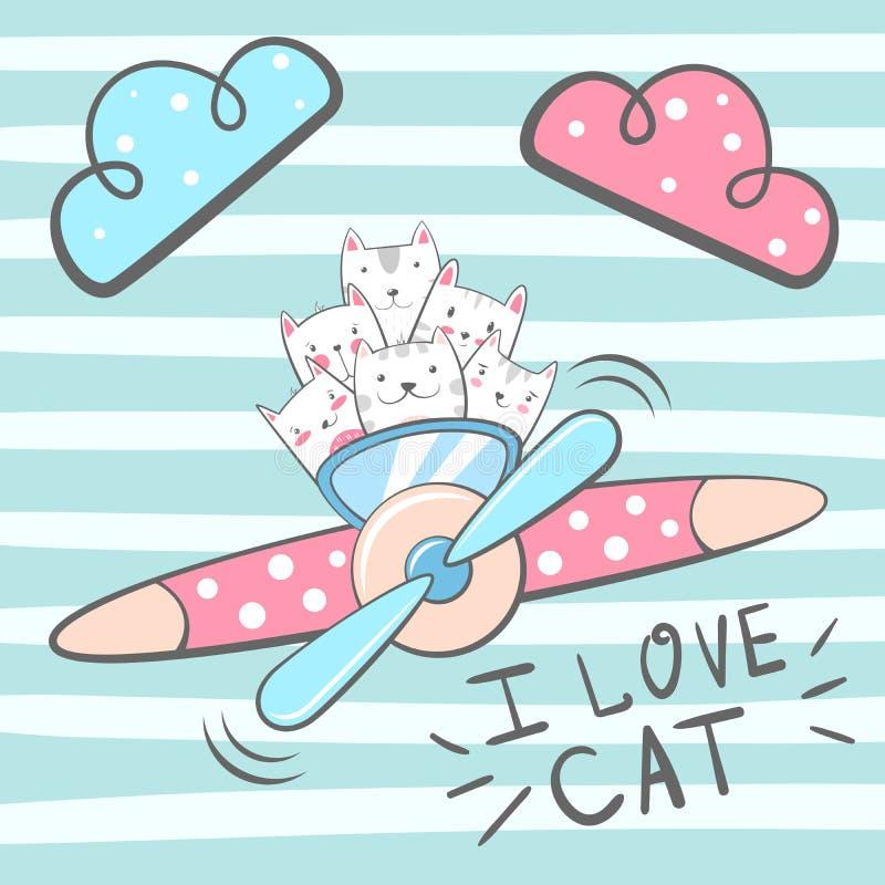 Cartoon cat, kitty characters. Airplane illustration Hand draw stock illustration