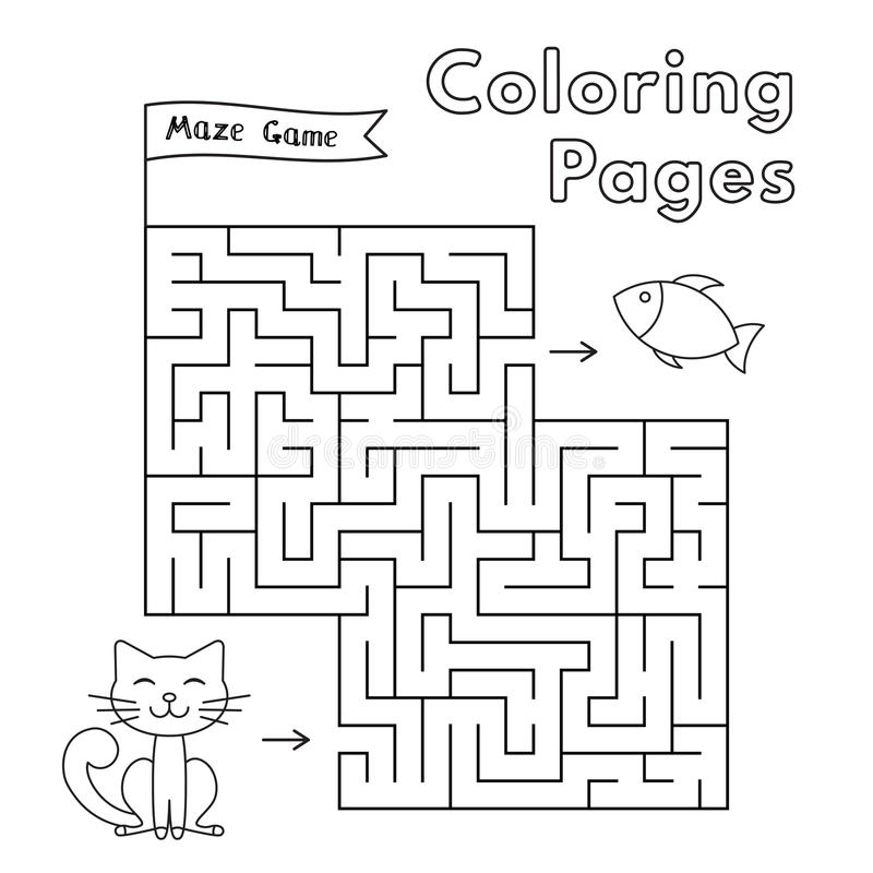 Cartoon Cat Maze Game stock illustration
