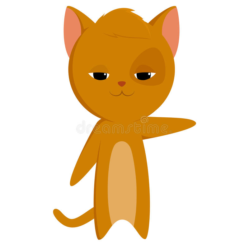 Cartoon Cat With Pointed Paw Stock Images