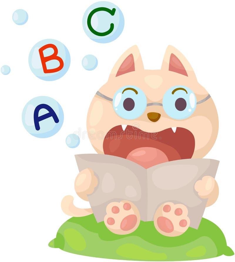 Cartoon cat reading english book vector illustration