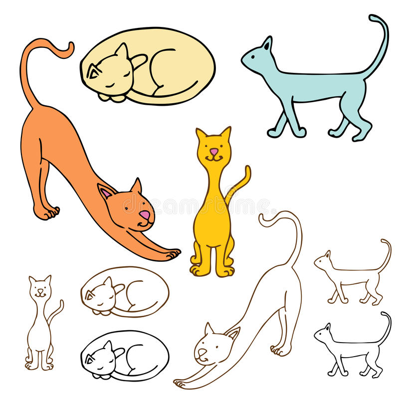 Download Cartoon Cat Set stock vector. Illustration of pets, stretching - 22038689