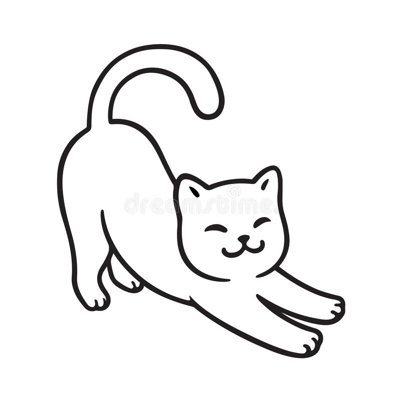 Free Cartoon Cat Stretch Royalty Free Stock Images - 131321749